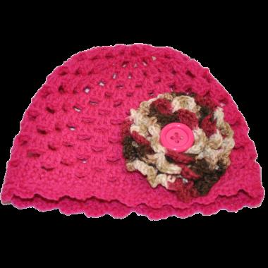 花朵毛线帽